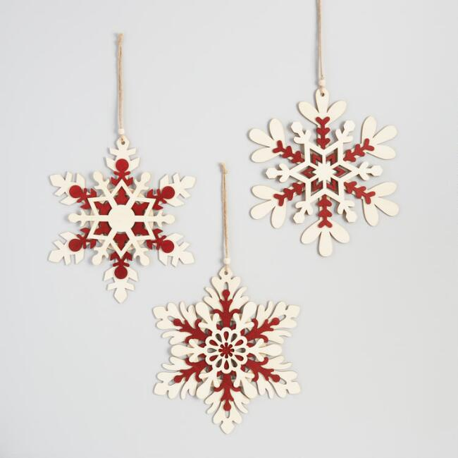 Natural and Red Wood Snowflake Hanging Decor Set of 3
