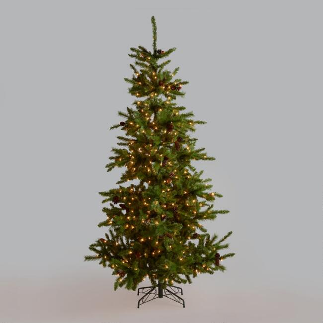 Pre Lit Artificial Christmas Tree with Pinecones