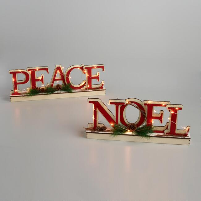 Wood and LED Light Up Word Decor
