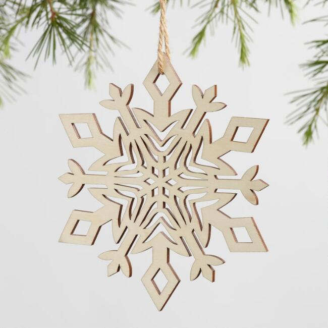Laser Cut Wood Snowflake Ornaments Set Of 4