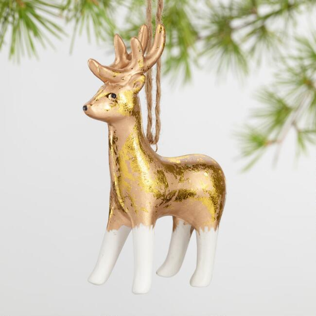 Gold Foil Ceramic Animal Ornaments Set Of 4