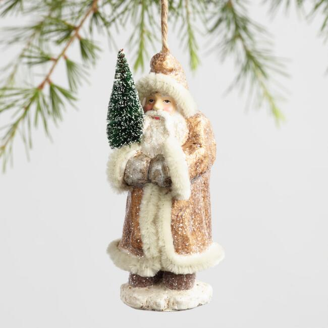 Paper Pulp Old World Santa Ornaments Set Of 3