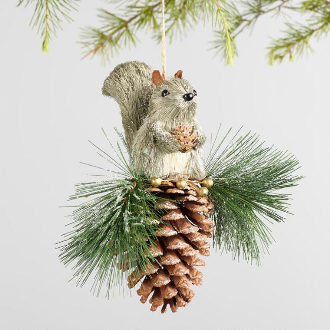 Natural Fiber Squirrel Pinecone Ornaments Set Of 2