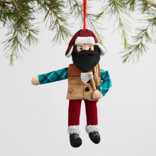 Fabric Lumberjack Ornaments Set Of 2