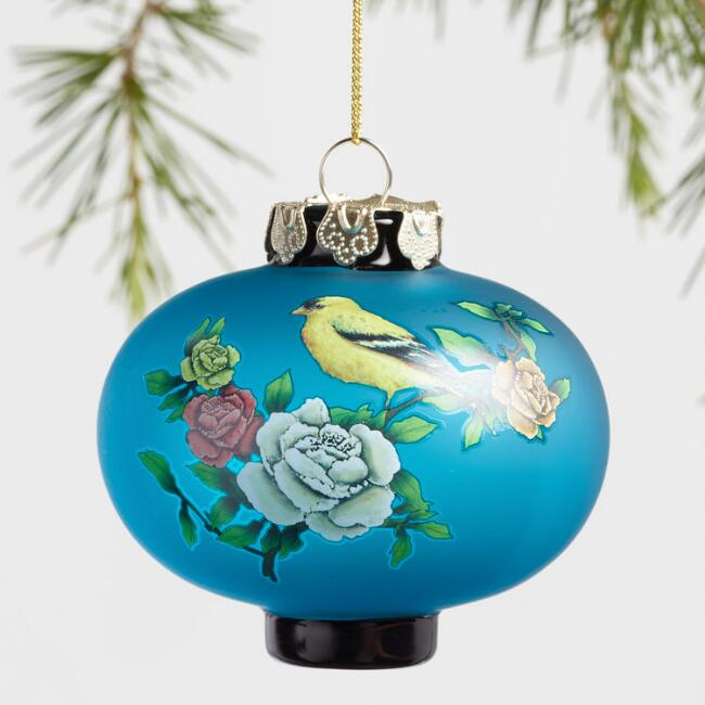 Glass Blossom and Bird Lantern Ornaments Set Of 3