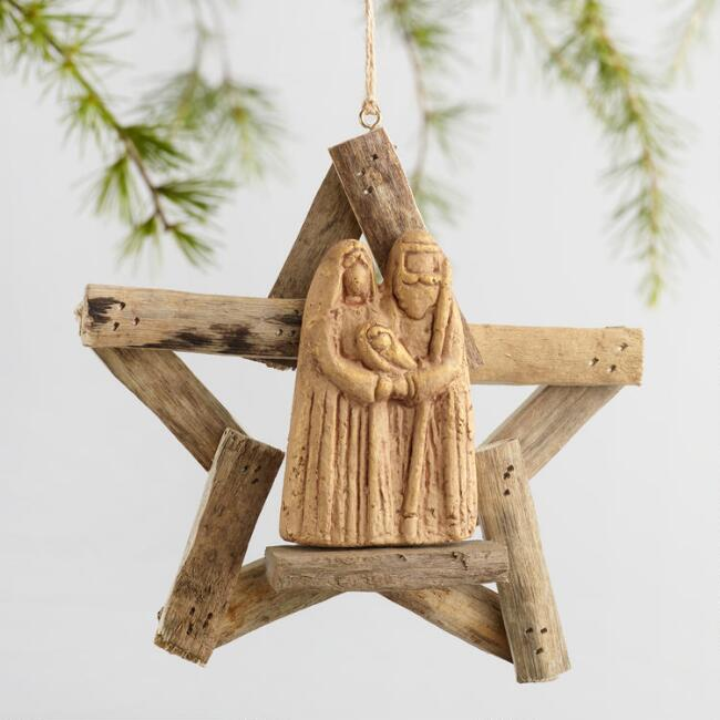Driftwood Nativity Scene with Star Ornament