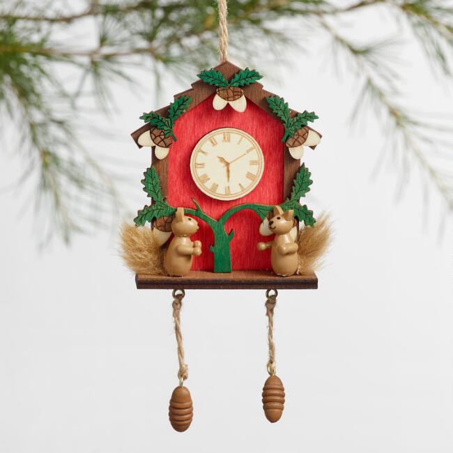 Red and Green Wood Cuckoo Clock Ornaments Set of 2