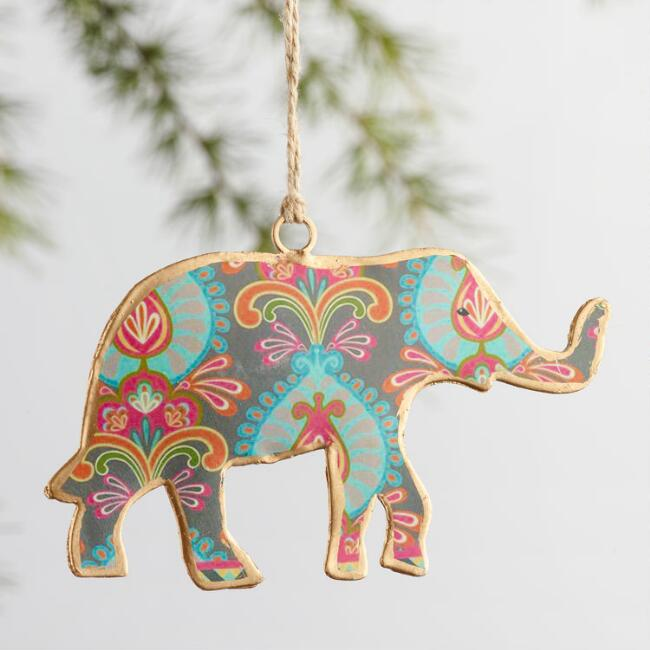 Metal Elephant Ornaments Set of 4