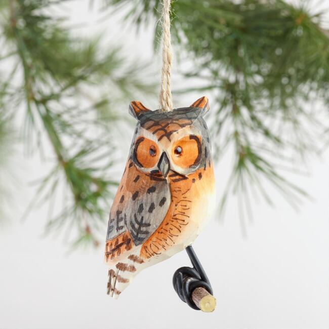Wood Owl on Perch Ornament, Set of 4