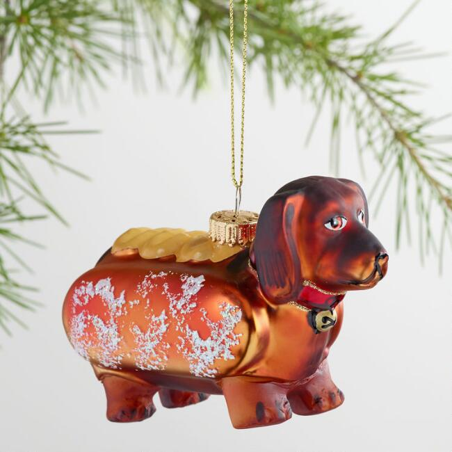Glass Dachshund Hot Dog Ornament