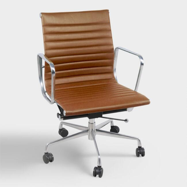 Cognac Faux Leather Hensley Office Chair