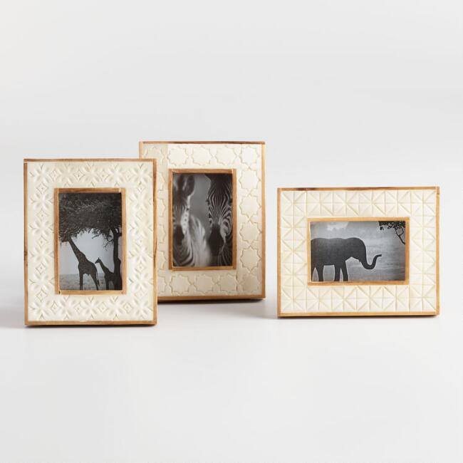 Carved Natural Bone Tabletop Frames Set of 3