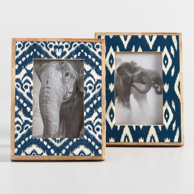 Indigo Ikat Print Bone Tabletop Frame Set of 2 | World Market