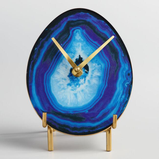 Blue Faux Agate Tabletop Clock with Brass Stand