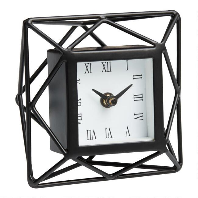 Black Geo Prism Tabletop Clock