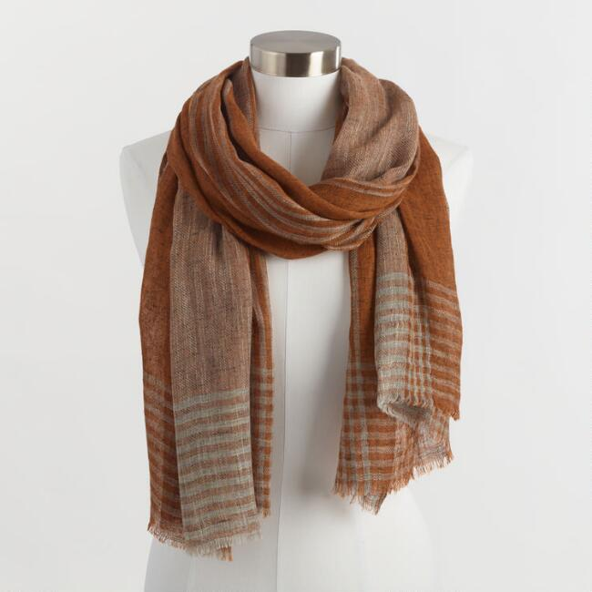 Rust and Beige Stripe Scarf