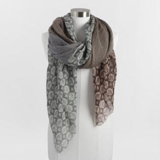 Brown and Blue Quad Scarf