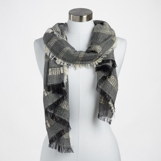 Black and White Stripe Textured Scarf