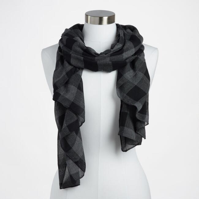Black and Gray Buffalo Check Scarf