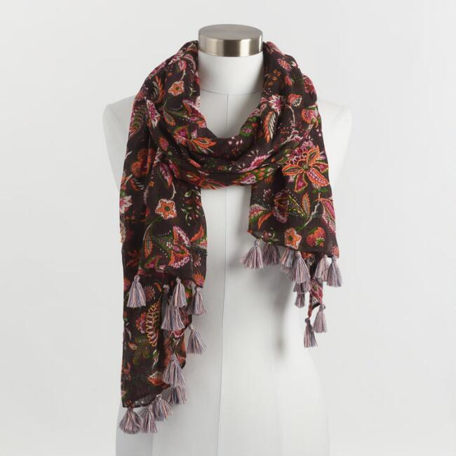 Floral Overstitch Scarf