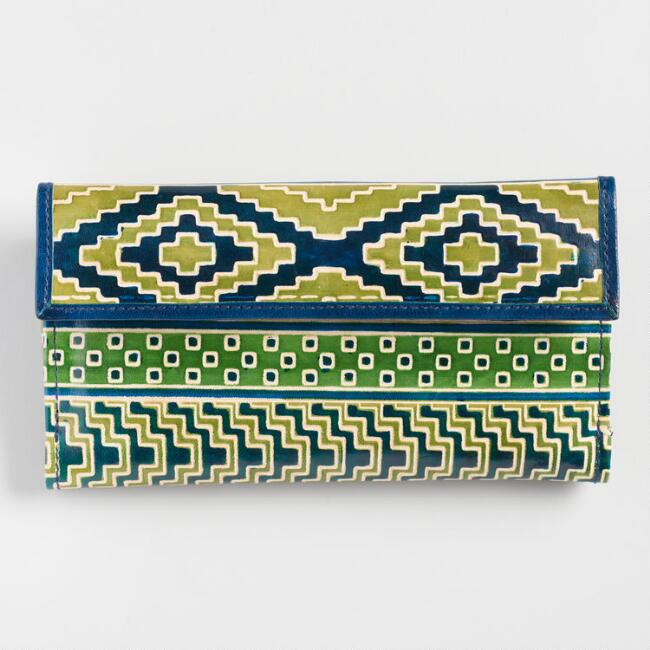 Blue and Green Geometric Leather Wallet