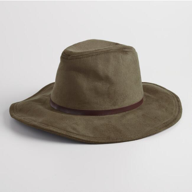 Olive Green Faux Suede Rancher Hat