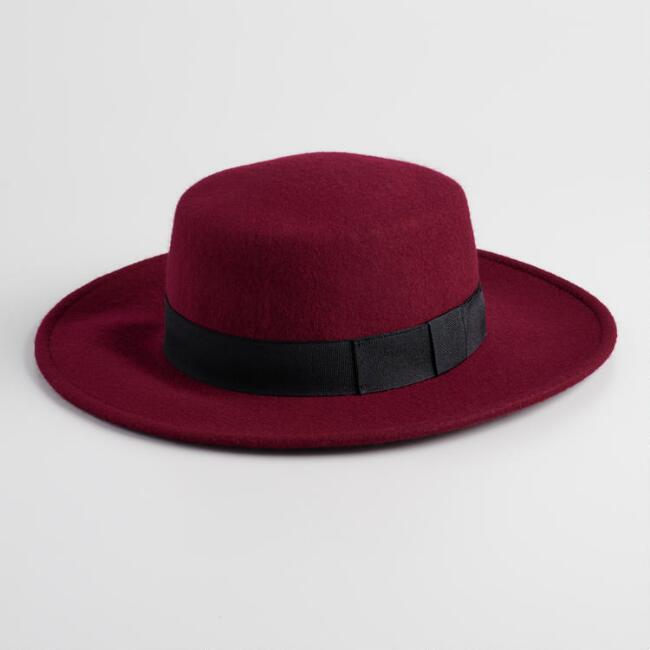 Wine Red Wool Boater Hat with Ribbon