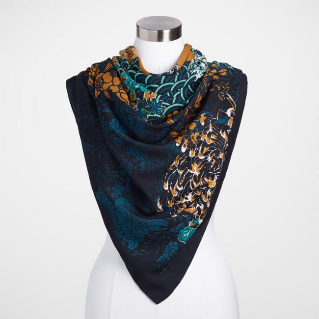 Navy, Teal and Mustard Floral Scarf