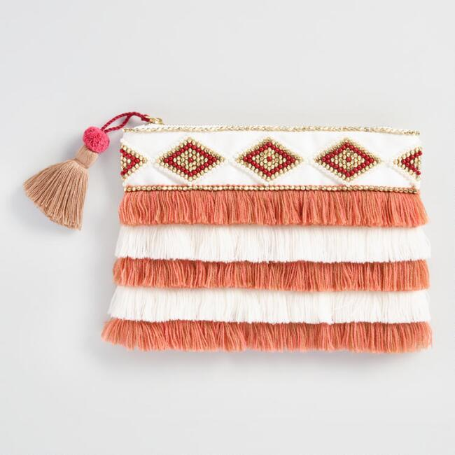 Coral and White Beaded Fringe Pouch