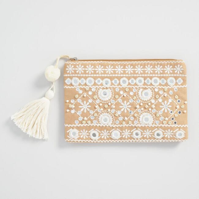 Tan and White Mirrored Pouch