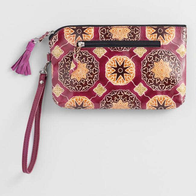 Burgundy Red Tile Leather Clutch