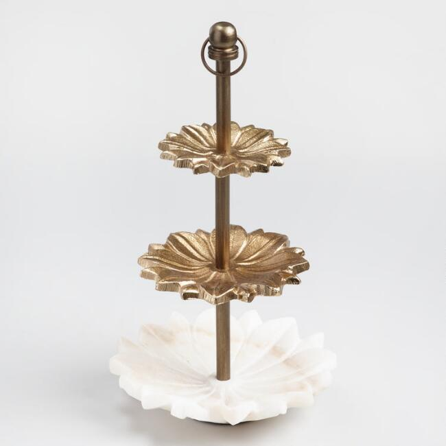Marble Lotus 3 Tier Jewelry Stand