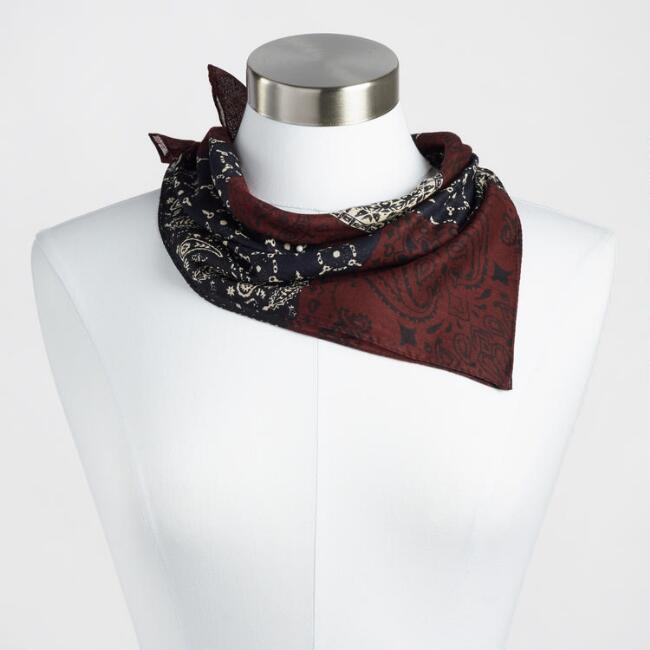 Navy and Wine Printed Kerchief