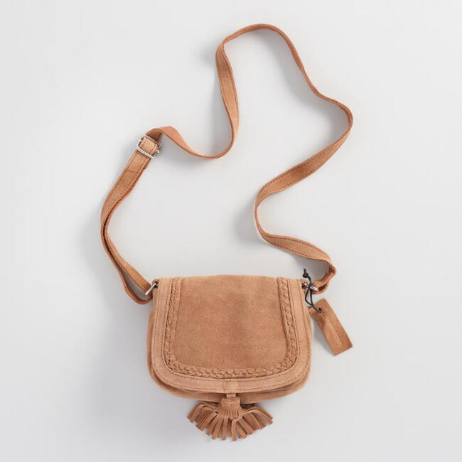 Tan Suede Cross Body Saddle Bag