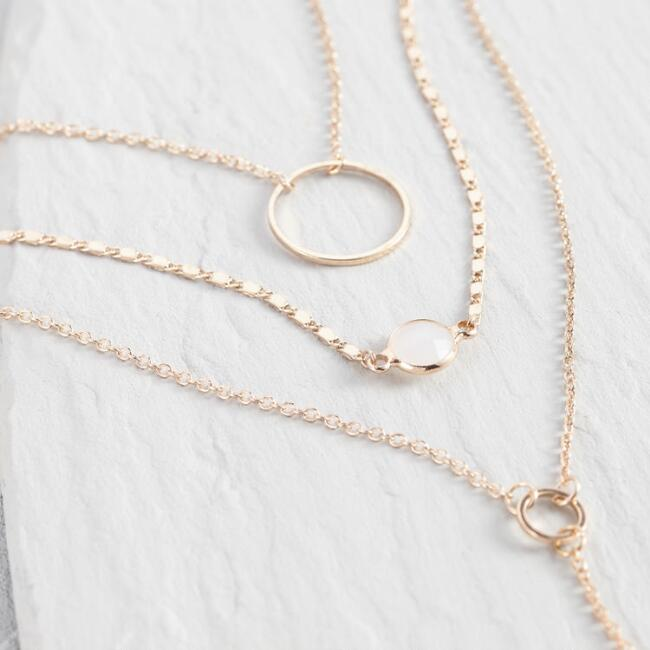 Gold Triple Layer Lariat Necklace