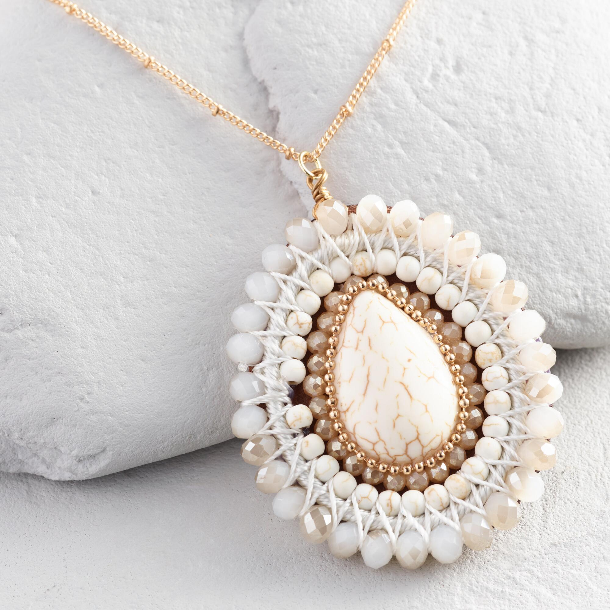 Ivory and Crystal Pendant Necklace by World Market