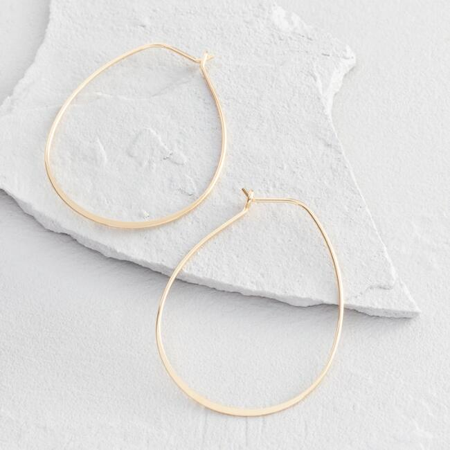 Gold Finish Teardrop Hoop Earrings