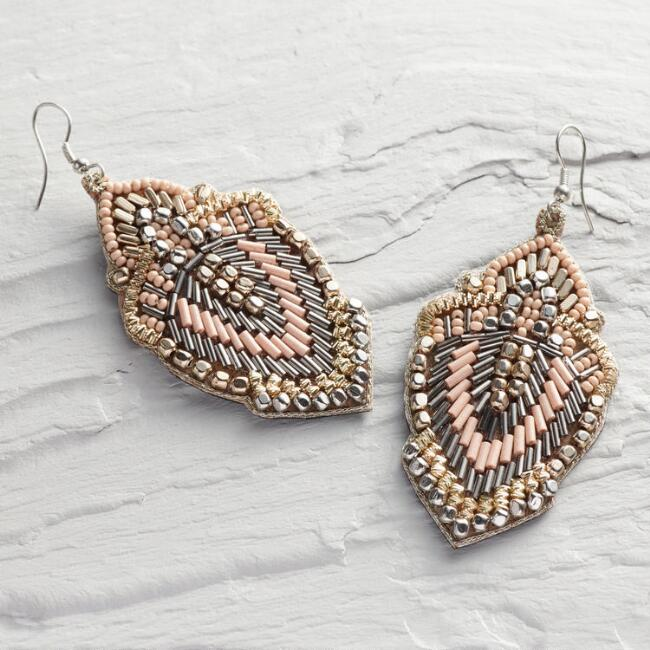 Blush Beaded Drop Earrings