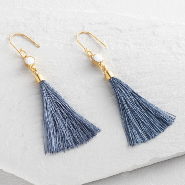 Opal and Gray Tassel Earrings