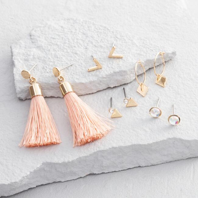Pink Tassel, Gold Stud and Hoop Earrings Set of 3