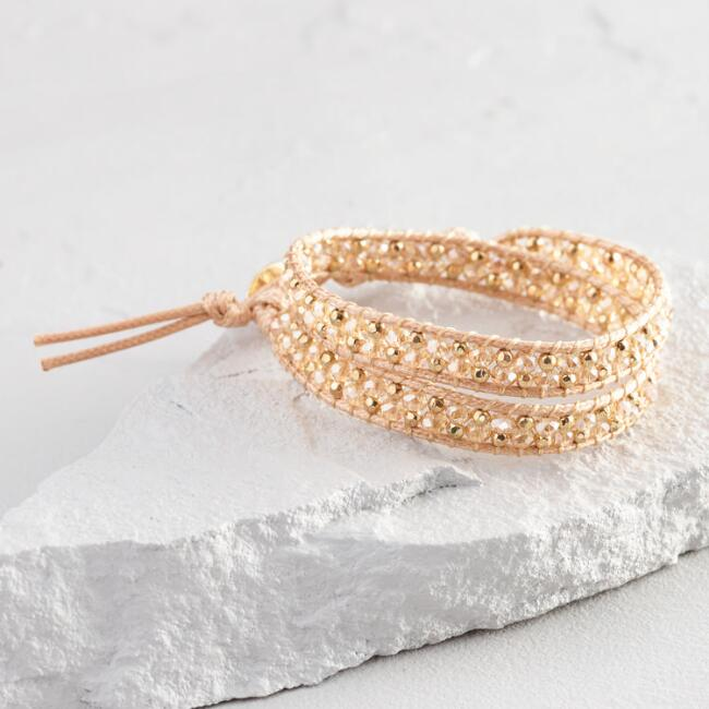 Gold and Crystal Wrap Bracelet