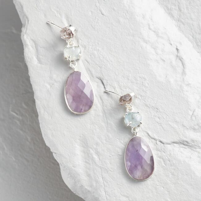 Silver Aqua and Amethyst Drop Earrings