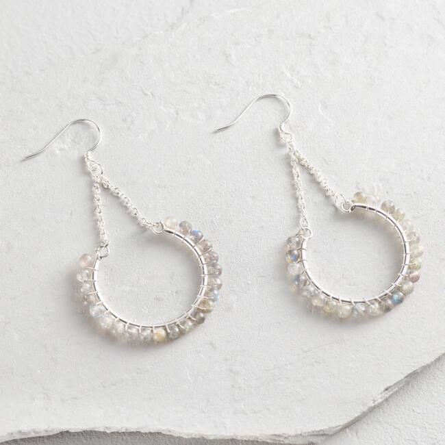 Large Silver and Labradorite Crescent Drop Earrings