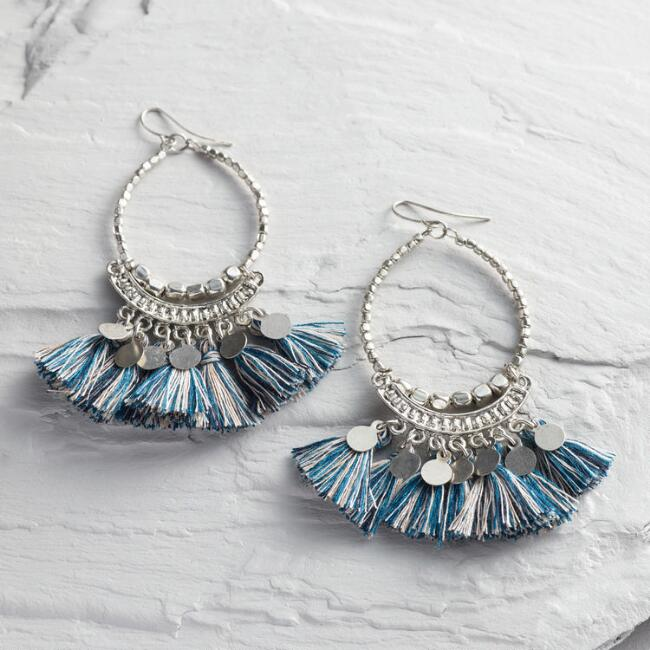 Large Silver Front Hoops with Tassels and Coins