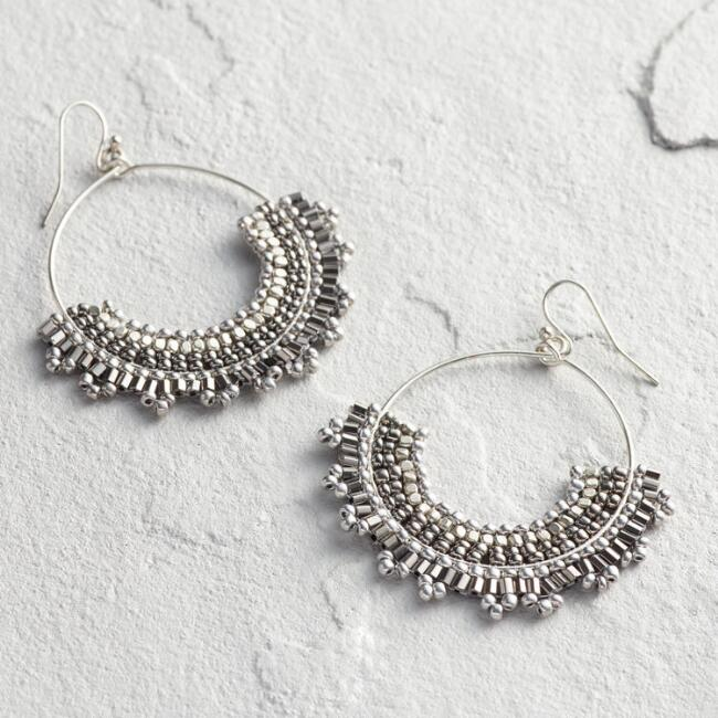 Silver Beaded Front Fan Hoop Earrings