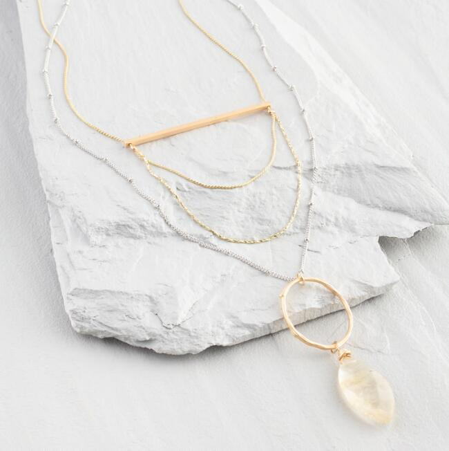 2 Layer Chain Pendant Necklace