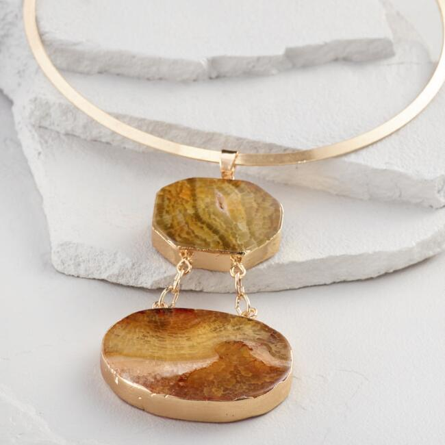 Gold Collar Agate Pendant Necklace