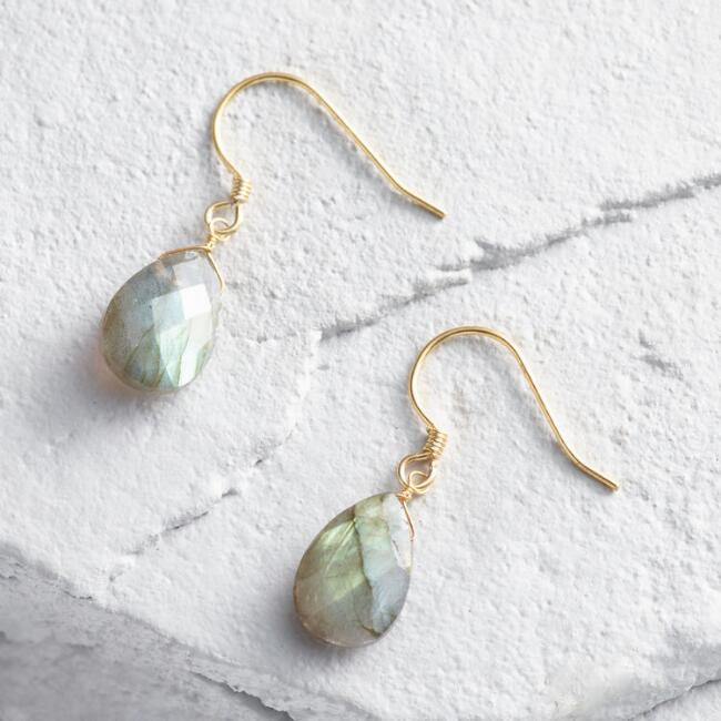 Gold Labradorite Small Drop Earrings