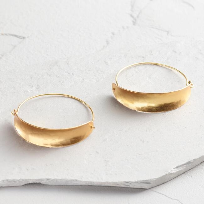 Gold Crescent Drop Hoop Earrings