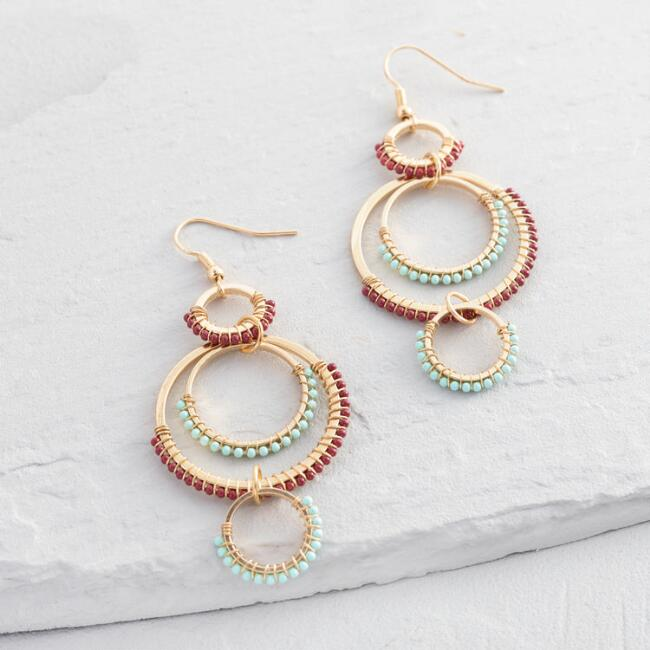 Red and Aqua Beaded Circle Earrings